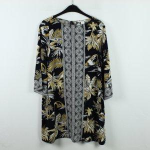 H&M Kleid Gr. 36 schwarz gelb gemustert (20/01/062)