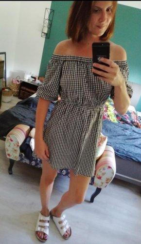 H&M Kleid Karo Kariert Vichy Carmen Bardot Offshoulder Minikleid