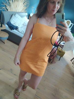 H&M Kleid Linen Blend Leinen Orange Minikleid Sommer rückenfrei Etuikleid