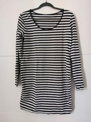 H&M Kleid Longpullover blau creme gestreift