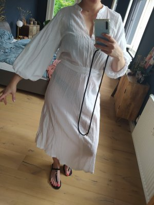 H&M Kleid Maxikleid Popeline Weiß gecrinkelt Kaftan