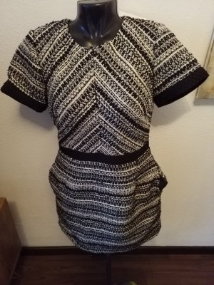 H&M Kleid meliert Gr. 38 Tweed Look schwarz gold Neu
