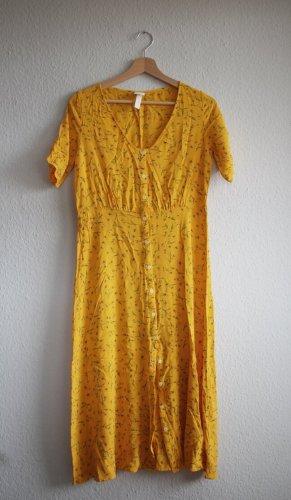 H&M Kleid Midi geblümt sonnengelb 38