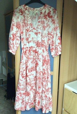 H&M / Kleid/ Midikleid/ Nostalgisch mit Taillenraffung/ rot-weiß/ Gr. S/36