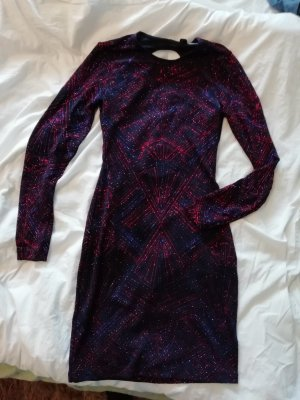 H&M Kleid Minikleid Rückenfrei Langarm Bodycon Glitzer