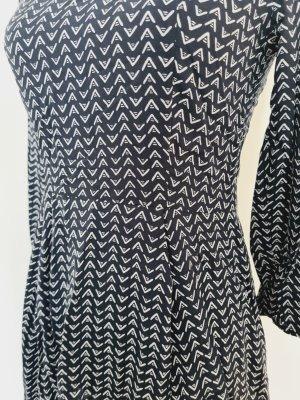 H&M Kleid mit 3/4 Arm Minikleid dunkel blau weiß Gr. 36