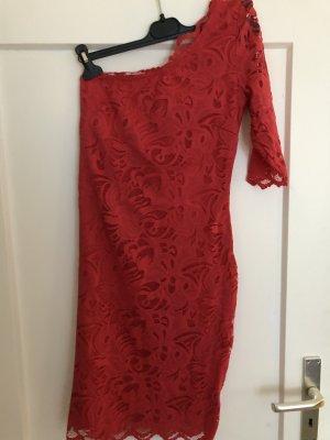 H&M One Shoulder Dress red polyamide
