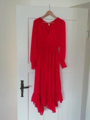 H&M Kleid Rot Volants Chiffon Volantkleid Midikleid
