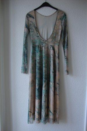 H&M Kleid Rückenfrei, Grün marmoriert, unterfüttert