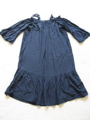 H&M kleid schulterfrei sommer dunkelblau gr. s 36 topzustand