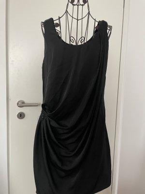 H&M Kleid schwarz mit Raffung / Brosche schwarz 40
