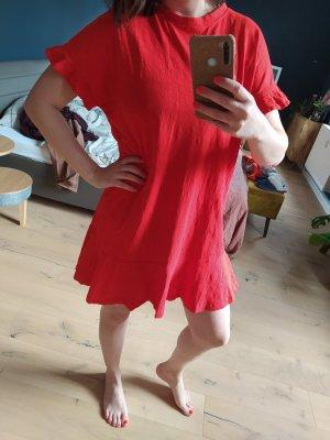 H&M Kleid Shirtkleid knallrot Volants