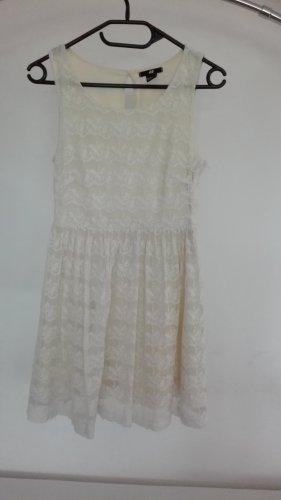 H&M Kleid Spitze Spitzenkleid weiß creme XS 34