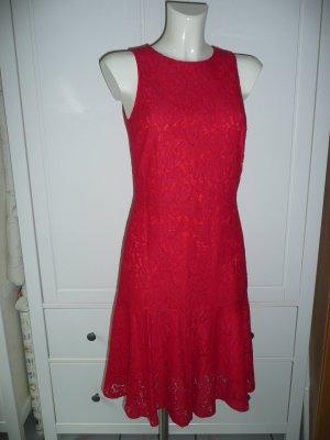 H&M Kleid Spitzenkleid Dress aus Spitze Lochspitze Rot Gr S NEU