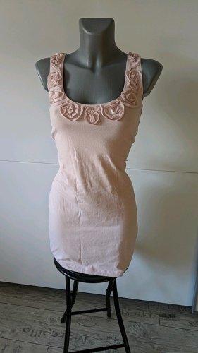 H&M Kleid stretch Minikleid Rosen rosé rosa Gr.S 36 elegant