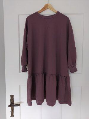 H&M Kleid Sweatkleid Pflaume Taupe loose fit
