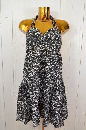 H&M Kleid Trägerkleid Neckholder Schwarz Weiss Muster Baumwolle Träger Gr.S