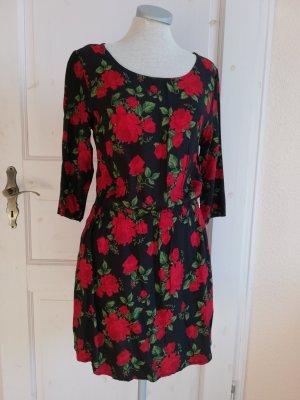 H&M Kleid Tunikakleid schwarz rot grün Gr. 38 S M Minikleid Rosen