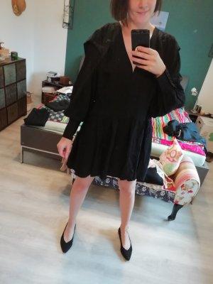 H&M Kleid Volants schwarz Langarm