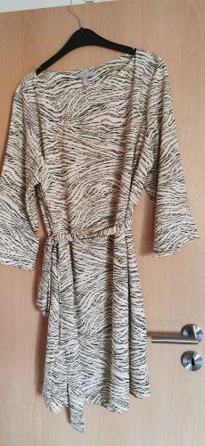 H&M Kopertowa sukienka ciemnobrązowy-beżowy