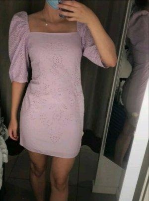 H&M KleidBroderie AnglaiseBio-Baumwolle Puffärmel 38 M 12 Flieder Lavendel