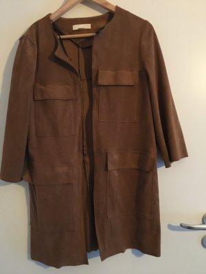 H&M knielanger Mantel in Leder-Optik, braun Größe 34, XS, selten getragen