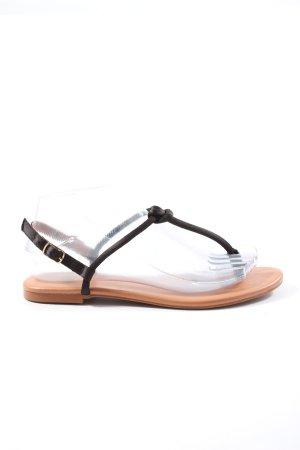 H&M Zehentrenner-Sandalen schwarz-braun Casual-Look