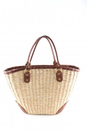 H&M Basket Bag cream-brown cable stitch casual look