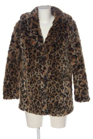 H&M Fake Fur Jacket brown-black leopard pattern casual look