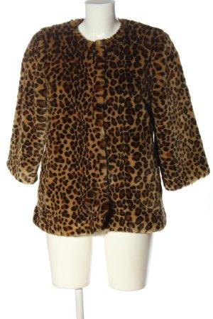 H&M Giacca in eco pelliccia marrone-nero stampa integrale stile casual