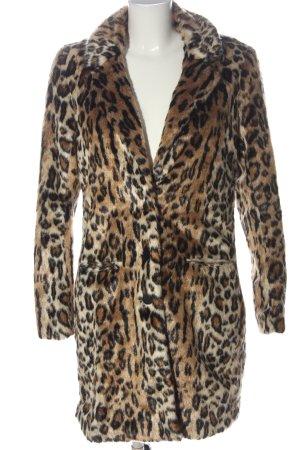 H&M Fake Fur Coat black-brown leopard pattern casual look