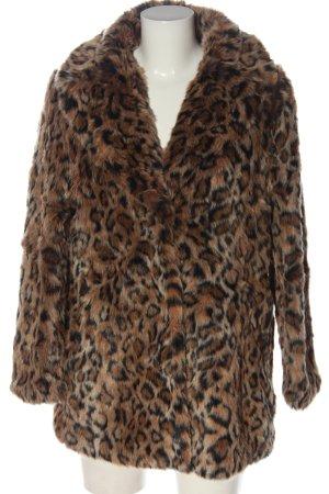 H&M Płaszcz ze sztucznym futrem Na całej powierzchni Elegancki