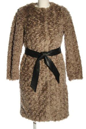 H&M Płaszcz ze sztucznym futrem brązowy W stylu casual