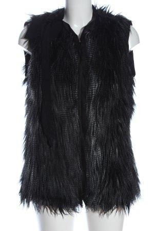 H&M Kunstfellweste schwarz-hellgrau Streifenmuster Casual-Look