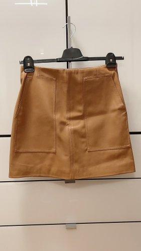 H&M Spódnica z imitacji skóry camel