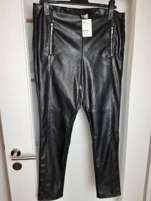 H&M DENIM Leather Trousers black polyester