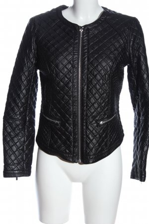 H&M Kurtka z imitacji skóry czarny Pikowany wzór W stylu casual