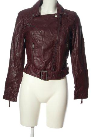 H&M Kurtka z imitacji skóry czerwony Pikowany wzór W stylu casual