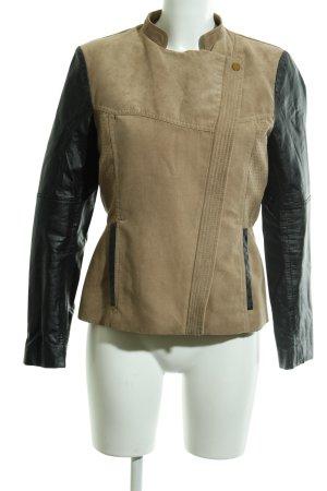 H&M Kunstlederjacke beige-schwarz Casual-Look