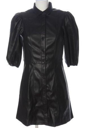 H&M Kunstlederkleid schwarz extravaganter Stil