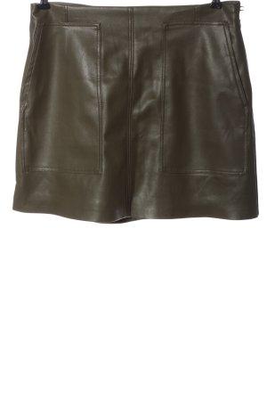 H&M Spódnica z imitacji skóry khaki W stylu casual