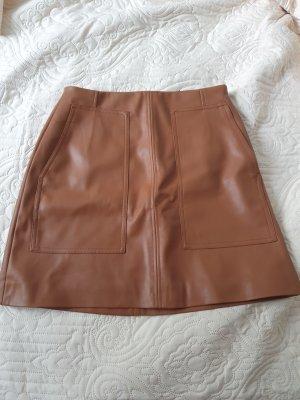 H&M Falda de cuero de imitación marrón-coñac