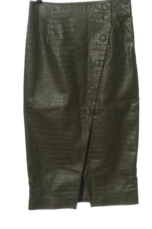 H&M Spódnica z imitacji skóry khaki Na całej powierzchni W stylu casual