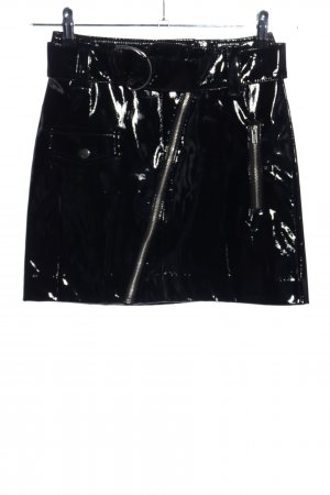 H&M Faux Leather Skirt black wet-look