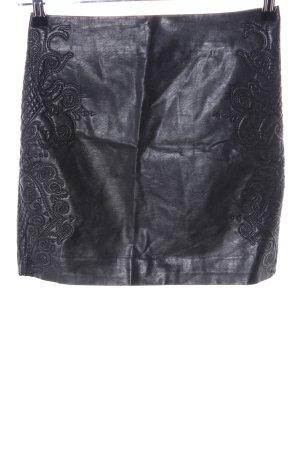H&M Spódnica z imitacji skóry czarny Wzór w kwiaty Ekstrawagancki styl
