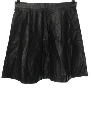 H&M Spódnica z imitacji skóry czarny Elegancki