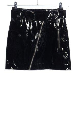 H&M Rok van imitatieleder zwart wetlook