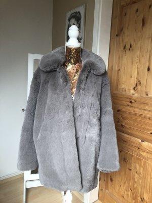 H&M Veste en fourrure gris clair polyester