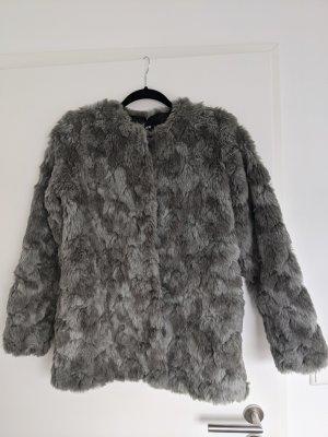 H&M Kunstpelzjacke Mantel grau Gr. 36 Fake Fur
