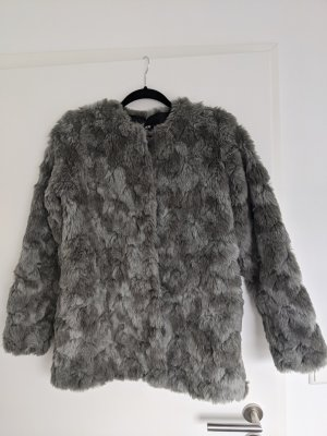 H&M Winterjas lichtgrijs-grijs Bont